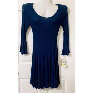 Copper Key Blue Bell Sleeve dress